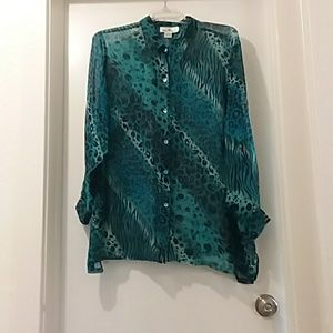 ERIN LONDON blouse silk sheer blue /black
